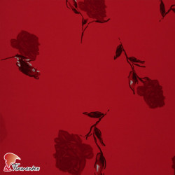 NATASHA FLOR ROJA. Drape crêpe fabric. Normally used for flamenco dresses. Red flower print.