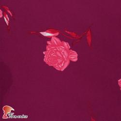 Tela de crespón con mucha caída, perfecta para trajes de flamenca. Estampado flor fucsia.