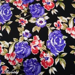 NATASHA. Crespón con mucha caída, perfecta para trajes de flamenca. Estampado floral.