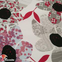 Tela satinada elástica, perfecta para trajes de flamenca muy entallados. Estampado floral abstracto.