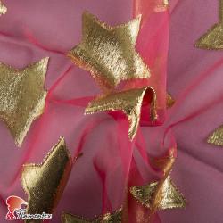 Tejido de organza con estrellas adornadas en lurex.