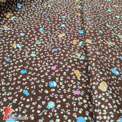 Tela de voile algodón. Estampado de flores.