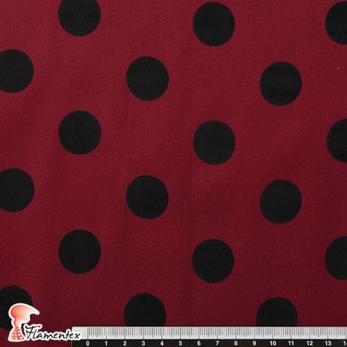 MADISON FLOSAR D/3. Tela satinada elástica con lunares flocados, perfecta para trajes de flamenca muy entallados.