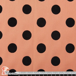 MADISON FLOSAR D/3. Stretch satin fabric with flocked polka dots. Ideal for fitted flamenco dresses.