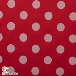 MADISON FLOSAR D/7. Tela satinada elástica con lunares flocados, perfecta para trajes de flamenca muy entallados.