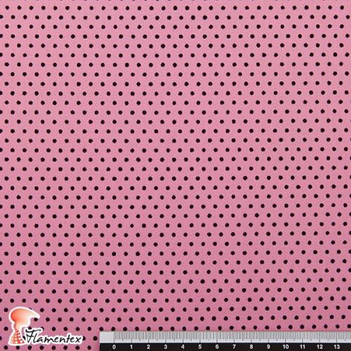 MADISON FLOSAR D/8. Tela satinada elástica con lunares flocados, perfecta para trajes de flamenca muy entallados.