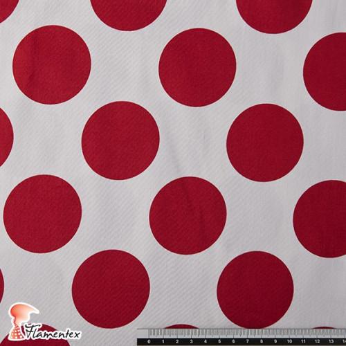 AINOA. Tela satinada elástica, perfecta para trajes de flamenca muy entallados. Estampado de lunares 5,50 cm diámetro.