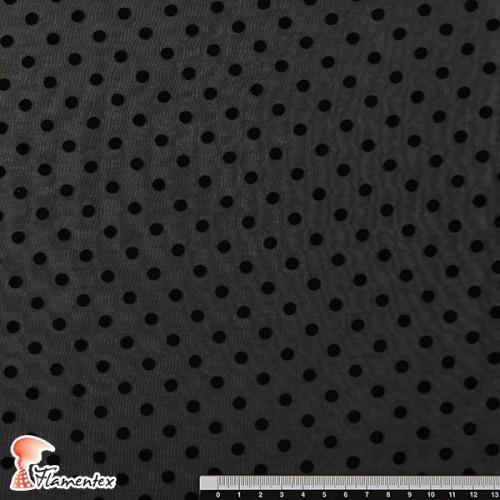DRAVA FLOCADO. Tela de gasa fina con lunar flocado, de 0,60 mm. OEKO-TEX Standard 100