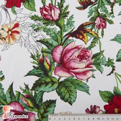JENNY. Tela satinada elástica ideal trajes de flamenca muy entallados. Estampado floral.