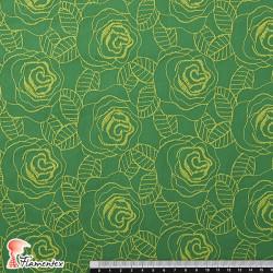 ZAMBRA. Tejido bordado con ramos de flores.