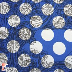 CANELA. Tela de satén/ elástico, perfecto para trajes de flamenca entallados. Lunar de 3 cm. de diámetro.