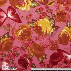 TABLAO. Tela de punto especial para faldas de ensayo. Estampado de flores y mariposas.