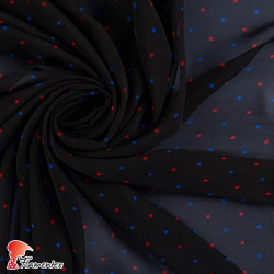 RAIZA. Thin chiffon fabric with printed polka dot 0,50 cm.