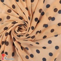 RAIZA. Thin chiffon fabric with printed polka dot 1,80 cm.