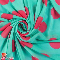 RAIZA. Thin chiffon fabric with printed polka dots 6 cm approx.