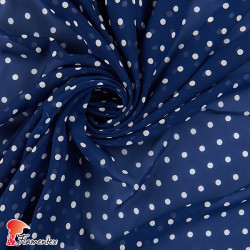 RAIZA. Thin chiffon fabric with printed polka dot 0,70 cm.