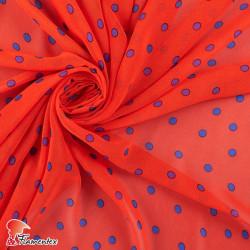 RAIZA. Thin chiffon fabric with printed polka dots 0,90 cm.