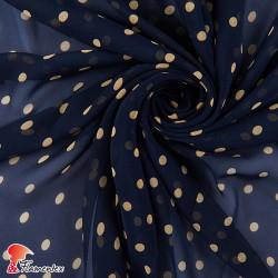 RAIZA. Thin chiffon fabric with printed polka dots 1 cm.