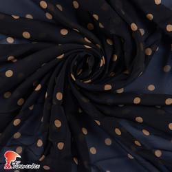 RAIZA. Thin chiffon fabric with printed polka dots 1,20 cm.