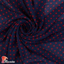 RAIZA. Thin chiffon fabric with printed polka dots 0,70 cm.