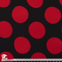 NATASHA. Tela de crespón con mucha caída, para trajes de flamenca. Estampado de lunares de 5,50 cm.
