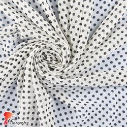 RAIZA. Thin chiffon fabric with printed polka dot 0,60 cm.
