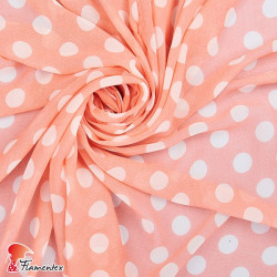 RAIZA. Thin chiffon fabric with printed polka dot 2 cm.