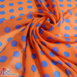 RAIZA. Thin chiffon fabric with printed polka dots 2 cm.