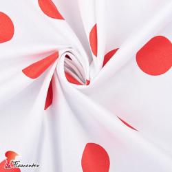 JENNY. Tela satinada elástica ideal trajes de flamenca muy entallados. Estampado lunares 4,30 cm.