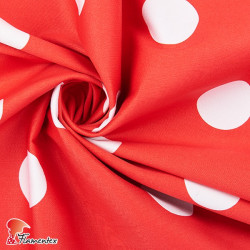 JENNY. Stretch satin fabric, perfect for fitted flamenco dress. Polka dot print 4,30 cm.