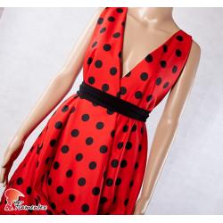JENNY. Tela satinada elástica ideal trajes de flamenca muy entallados. Estampado lunares 2,30 cm.