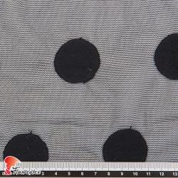 ABA. Tejido de tul elástico bordado con lunar de 3,50 cm.