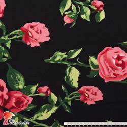 CHESNA. Tejido de viscosa estampado flores.
