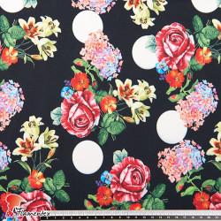 GUAJIRA. Tejido techno-peach bi-elástico suave, con estampado de flores y lunares (4 cm).