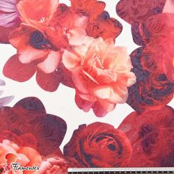 Tejido jacquard con estampado floral para moda flamenca.