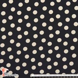 NATASHA. Tela de crespón con mucha caída, perfecta para trajes de flamenca. Estampado lunares medianos de 1,50 cm.