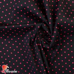 JENNY. Tela satinada elástica ideal trajes de flamenca muy entallados. Estampado lunares 5mm.