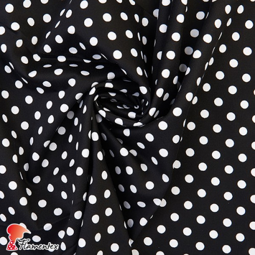 JENNY. Tela satinada elástica ideal trajes de flamenca muy entallados. Estampado lunares 9 mm.