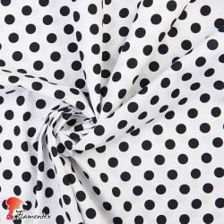 HARU. Tejido de algodón estampado con lunares de 1,30 cm.