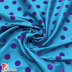 MADISON FLOSAR. Tela satinada elástica con lunares flocados, perfecta para trajes de flamenca muy entallados.