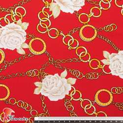 PEZA. Crepe fabric with flowers and chains pattern.