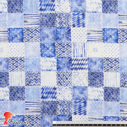 ROTA. Rayon/ linen fabric with decorated check pattern.