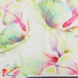 ROTA. Tejido de rayón/ lino con estampado floral.