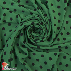 ZUHEROS. Thin chiffon fabric with patterned polka dots of 1,10 cm.