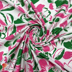 Tela elástica satinada, perfecta para trajes de flamenca muy entallados. Estampado de flores.