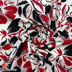 LUNA. Tela elástica satinada, perfecta para trajes de flamenca muy entallados. Estampado de flores.