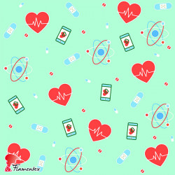 POPELIN MICRO FIBRA ESTP. Poplin fabric with antibacterial and waterproof treatment, permanent in multiple washes. Hearts print.