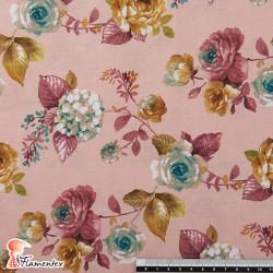 Tejido de algodón estampado de flores.