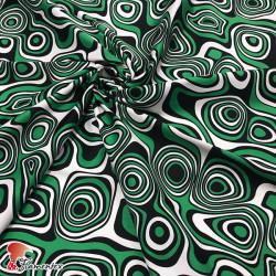 Tela satinada elástica, perfecta para trajes de flamenca muy entallados. Estampado abstracto.